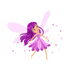 Beautiful smiling purple Fairy girl flying colorful cartoon character vector Illustration