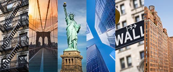 Fond de hotte en verre imprimé New York City New York, panoramic photo collage, New York landmarks travel and tourism concept