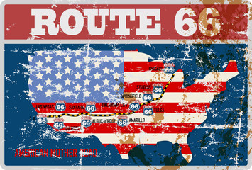 grungy route 66 road map sign, retro grungy vector illustration
