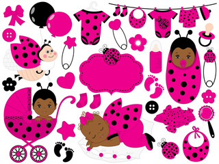 Vector Baby Girl Set with Ladybug Pattern. Vector African American Baby Girl. Vector Ladybug.