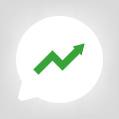 Kreis Sprechblase - Pfeil Aufstieg grün