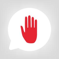 Kreis Sprechblase - Hand rot
