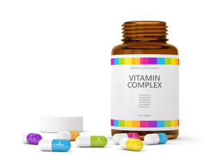 3d rendering of vitamin pills with bottle