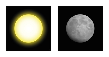 Sun and moon - symbolic mythological comparison of masculine and feminine energy in astrology, like yin and yang, day and night. Artistic, abstract vector illustration.