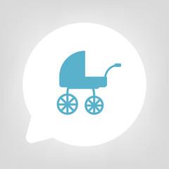 Kreis Sprechblase - Kinderwagen blau