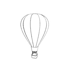 Hot air balloon. Isolated on white background. Sketch illustration.