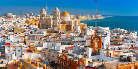 Wall Mural - Aerial panoramic view of the old city rooftops and Cathedral de Santa Cruz in the morning from tower Tavira in Cadiz, Andalusia, Spain