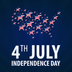 American Independence Day. 4th July. Template background for greeting cards, posters, leaflets and brochure. Vector illustration.