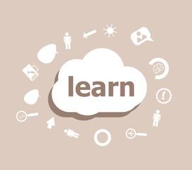 Text Learn. Education concept . Icons set for cloud computing for web and app