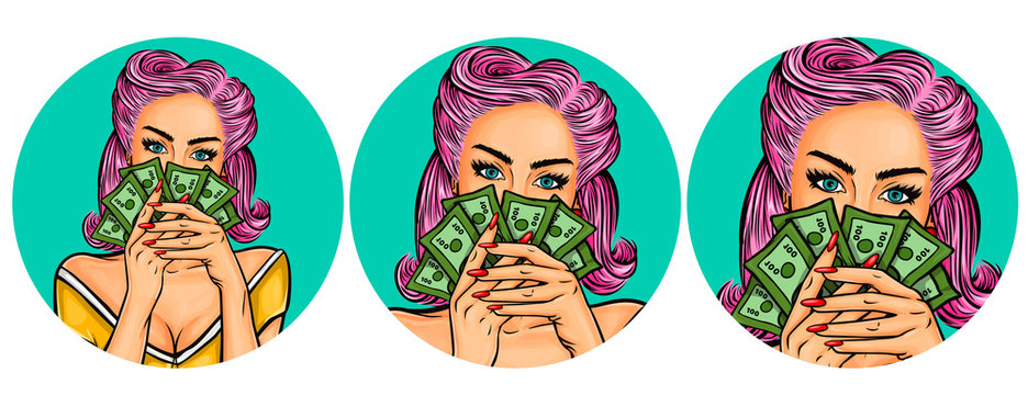 Set of vector illustration, womens pop art round avatars icons for users of social networking, blog, isolated on white