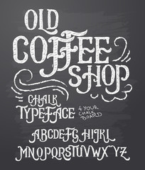 Vector illustration of retro font, capital letters written in white chalk on a blackboard. Template, design element for a signboard, advertising of coffee shop