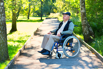 old man on wheelchair in the park