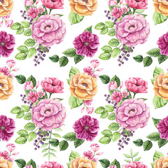 Seamless Pattern of Watercolor Bouquets with Yellow and Pink Flowers