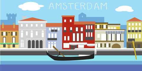 Vector illustration of Amsterdam cityscape in simple style. Traditional Dutch landscape. Houses in the old European style. River channel and boat.