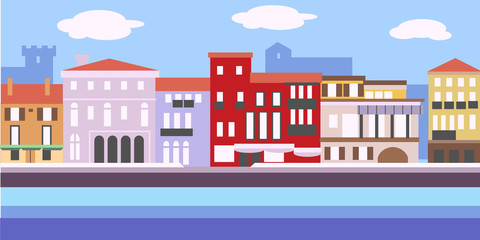 Vector illustration of European cityscape in simple style. Traditional landscape. Houses in the old European style.