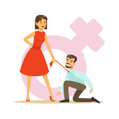 Woman in red dress holding her man by his tie dominating him, feminism colorful characters vector Illustration