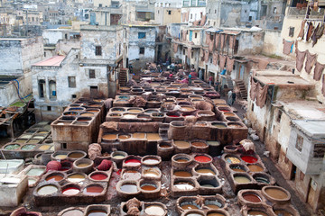 Panorama of the Tannery souk in Fez, Morocco