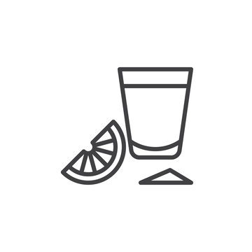 Tequila shot glass with lime slice line icon, outline vector sign, linear style pictogram isolated on white. Symbol, logo illustration. Editable stroke. Pixel perfect