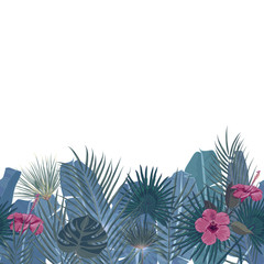 Hand drawn tropical palm leaves and jungle exotic flower holiday template on white background with seamless frame border