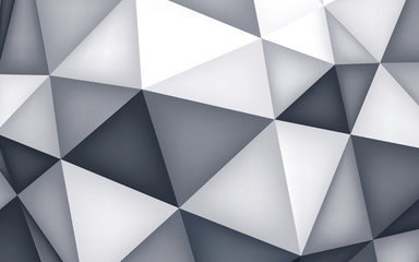 Volume polyhedron background, 3d crystals wallpaper, geometry shape, mesh version, gray origami , abstract vector background for you project