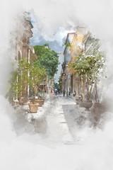Street in Old Havana, Cuba, watercolor