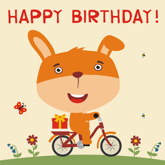 Happy birthday! Cute bunny rabbit rides on bike with birthday gift. Card for birthday with bunny rabbit in cartoon style.