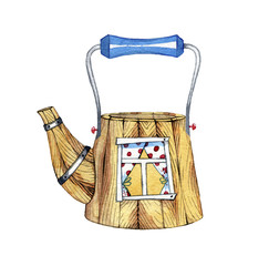 watercolor hand drawn fabulous teapot. Illustration for design of wedding invitations, greeting cards, postcards, children's books.