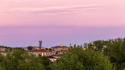 Purple Clouds at Sunset, Parma, Italy