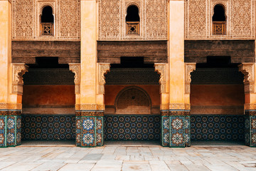 moroccan style courtyard at marrakech