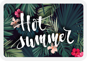 Bright tropical vector postcard design with hibiscus flowers, exotic palm leaves and lettering.