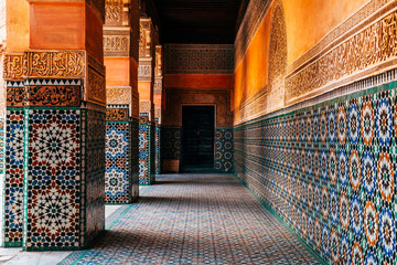 colorful ornamental tile at moroccan courtyard