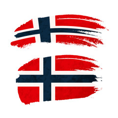 Grunge brush stroke with Norway national flag on white