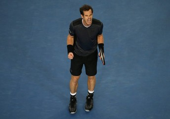 Britain's Murray reacts during his third round match against Portugal's Sousa at the Australian Open tennis tournament at Melbourne Park