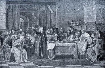 Christopher Columbus at the court of king Fernand and queen Isabel de Aragón
