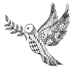 Zentangle stylized peace dove with olive branch for International Peace Day. Ornate vector illustration.