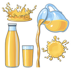 Splashing and pouring orange juice in bottle, glass, jug, sketch vector illustration isolated on white background. Hand drawn glass, bottle with orange juice and juice pouring from jug