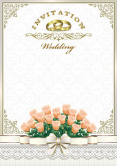 Wedding card. Background with roses and rings