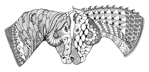 Two horses showing affection, zentangle stylized, vector illustration, freehand pencil, hand drawn, pattern, love. Zen art.