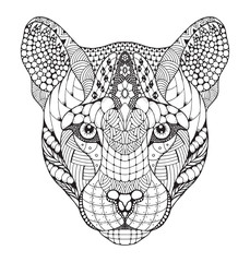 Cougar, mountain lion, puma, panther head zentangle stylized, vector, illustration, pattern, freehand pencil, hand drawn. Zen art.