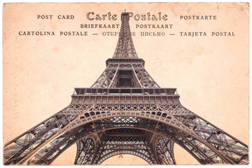 Eiffel tower in Paris, France, collage on sepia vintage postcard background, word