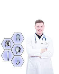 caucasian man doctor with stethoscope on white background with medical icon