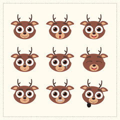 Set funny face reindeer different emotion. Collection emoticons of cartoon reindeer isolated.