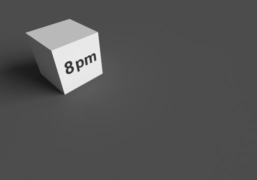 3D RENDERING WORDS 8 pm ON WHITE CUBE, STOCK PHOTO