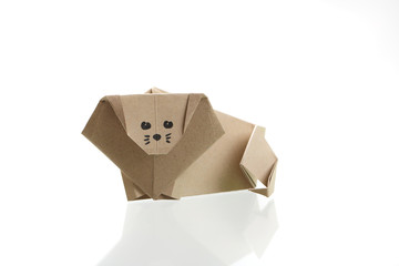 Origami lion papercraft by recycle paper isolated in white background