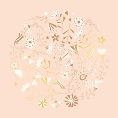 Floral pattern. Background of multi-colored flowers. Round frame.