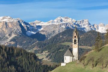 Europe, Italy, South Tyrol, St. Barbara chapel, Tolpei, La Valle, Val Badia, Dolomites