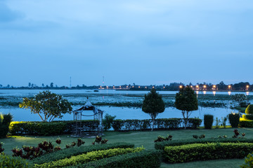 Garden and lake view in the evening