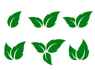 set of green leaves silhouettes