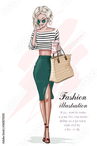 de13693d6a Stylish woman in fashion clothes: red crop top and green skirt. Beautiful  fashion woman with hand bag. Sketch. Vector illustration.