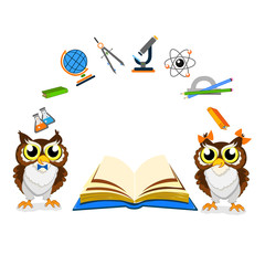 Cheerful school owls